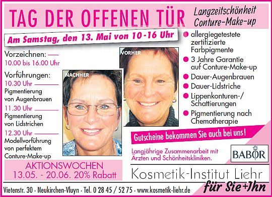 Conture Make-up Vorführungsaktion